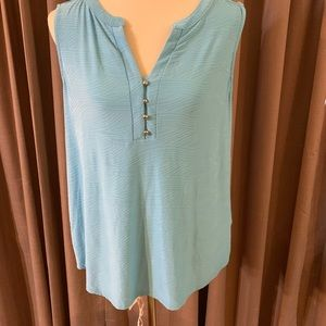 New Dana Buchman Large Blue Sleeveless Shirt